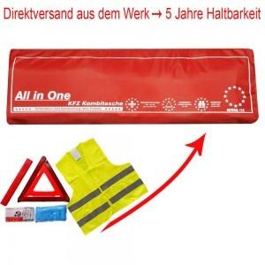 3in1 Kombitasche | Verbandtasche mit Warndreieck und Warnweste [ROT]