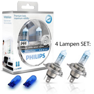 Philips White Vision H4 +w5w DUO BOX