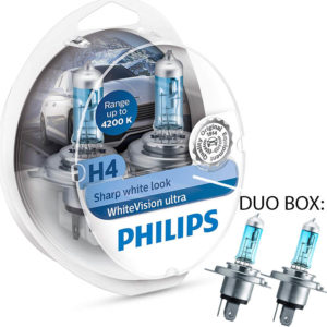 Philips White Vision Ultra H4 4.200K Duo Box