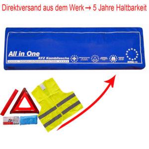 3in1 Kombitasche | Verbandtasche mit Warndreieck und Warnweste [BLAU]