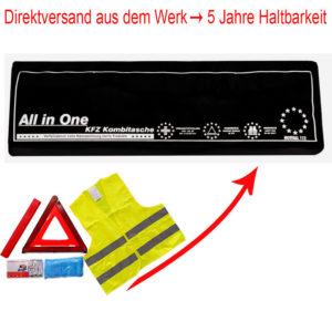 3in1 Kombitasche | Verbandtasche mit Warndreieck und Warnweste [Schwarz]